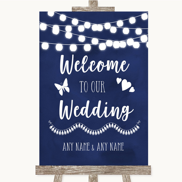 Navy Blue Watercolour Lights Welcome To Our Wedding Personalised Wedding Sign