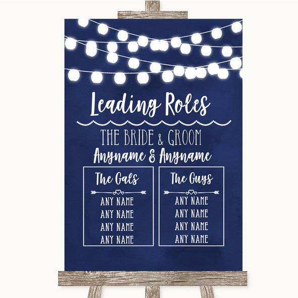 Navy Blue Watercolour Lights Who's Who Leading Roles Personalised Wedding Sign