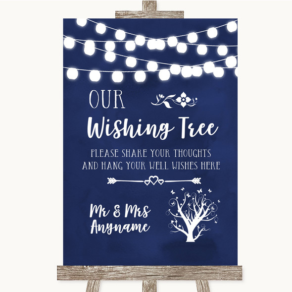 Navy Blue Watercolour Lights Wishing Tree Personalised Wedding Sign