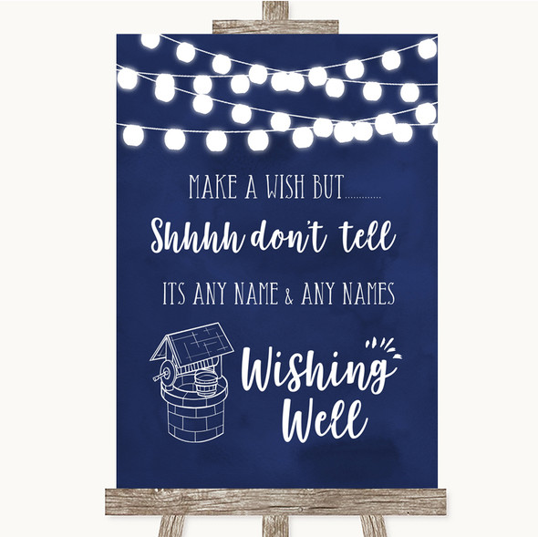 Navy Blue Watercolour Lights Wishing Well Message Personalised Wedding Sign