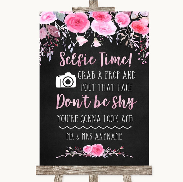 Chalk Style Watercolour Pink Floral Selfie Photo Prop Personalised Wedding Sign