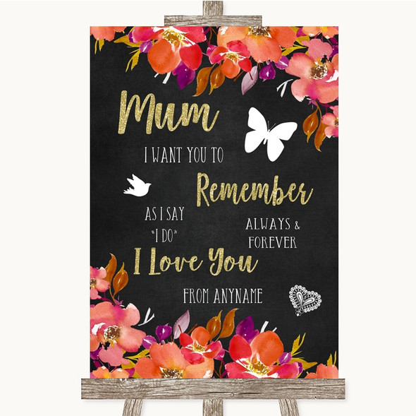 Pink Coral Orange & Purple I Love You Message For Mum Personalised Wedding Sign