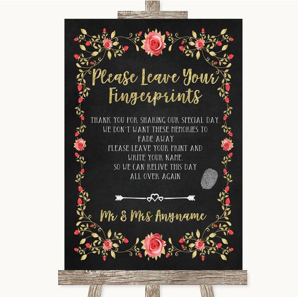 Chalk Style Blush Pink Rose & Gold Fingerprint Guestbook Wedding Sign