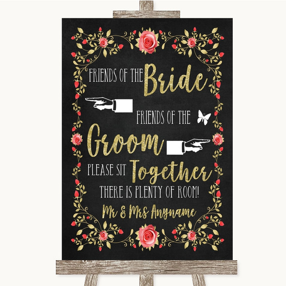 Chalk Blush Pink Rose & Gold Friends Of The Bride Groom Seating Wedding Sign
