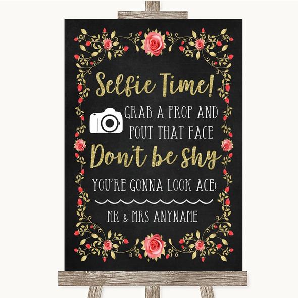 Chalk Style Blush Pink Rose & Gold Selfie Photo Prop Personalised Wedding Sign