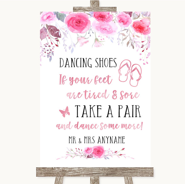 Pink Watercolour Floral Dancing Shoes Flip Flops Personalised Wedding Sign