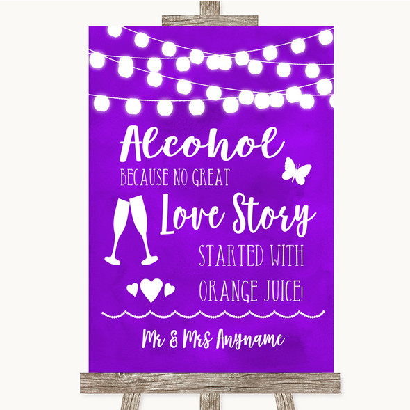 Purple Watercolour Lights Alcohol Bar Love Story Personalised Wedding Sign