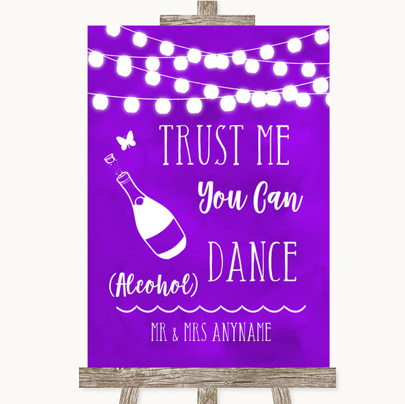 Purple Watercolour Lights Alcohol Says You Can Dance Personalised Wedding Sign