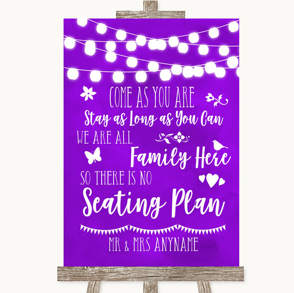 Purple Watercolour Lights All Family No Seating Plan Personalised Wedding Sign