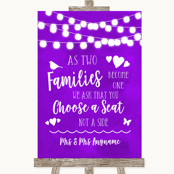 Purple Watercolour Lights As Families Become One Seating Plan Wedding Sign