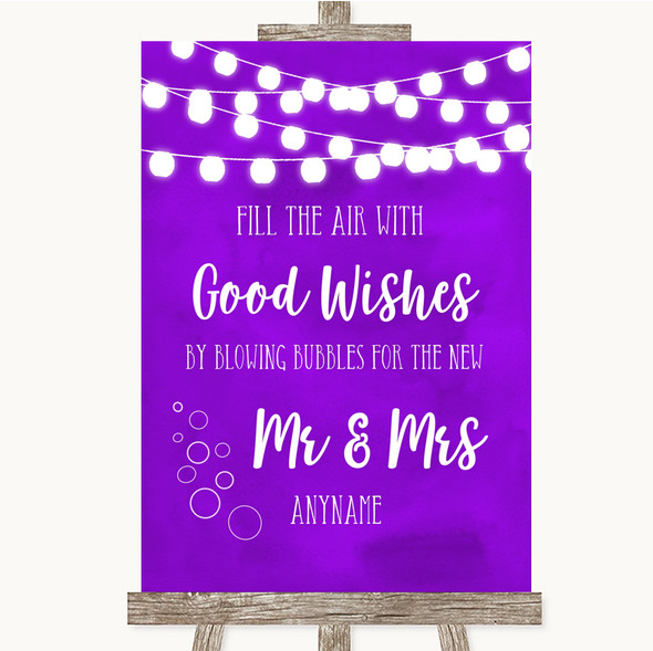 Purple Watercolour Lights Blow Bubbles Personalised Wedding Sign