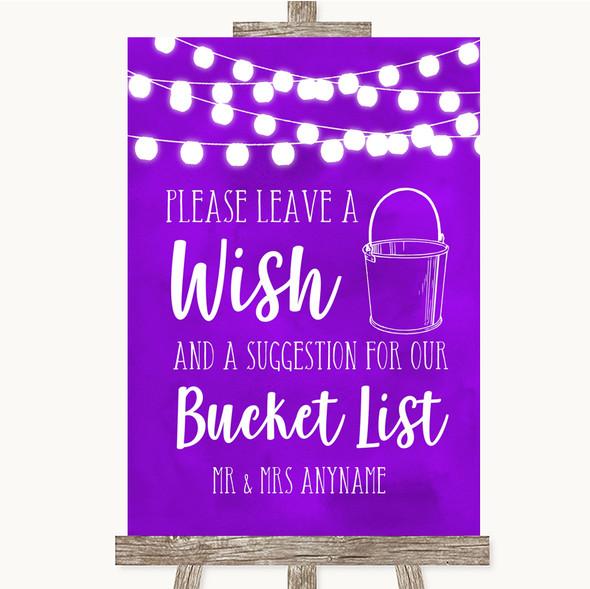 Purple Watercolour Lights Bucket List Personalised Wedding Sign