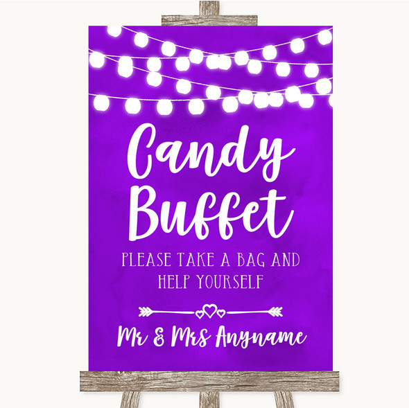 Purple Watercolour Lights Candy Buffet Personalised Wedding Sign