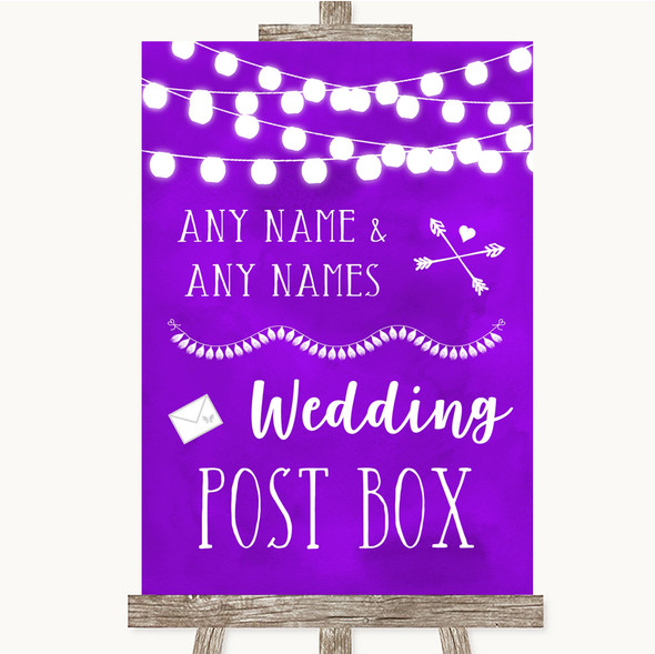 Purple Watercolour Lights Card Post Box Personalised Wedding Sign
