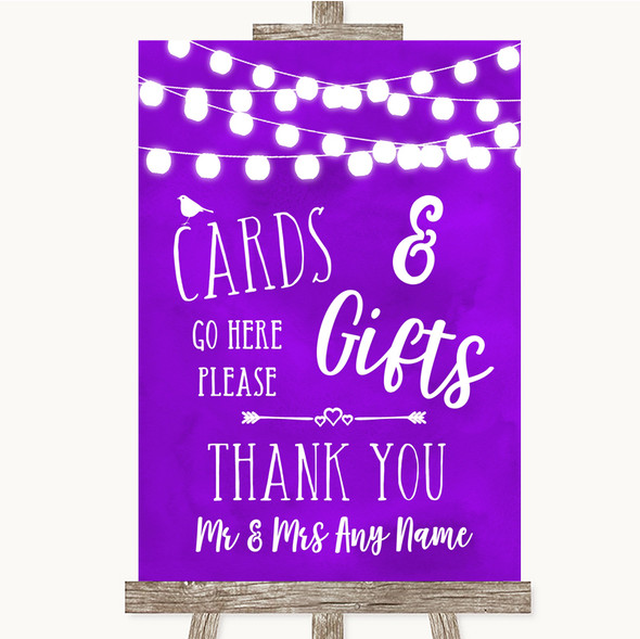 Purple Watercolour Lights Cards & Gifts Table Personalised Wedding Sign