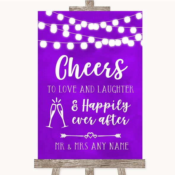 Purple Watercolour Lights Cheers To Love Personalised Wedding Sign