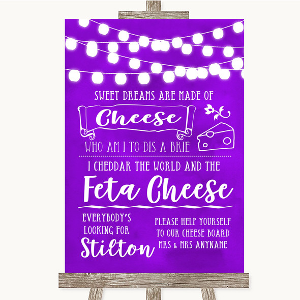 Purple Watercolour Lights Cheeseboard Cheese Song Personalised Wedding Sign