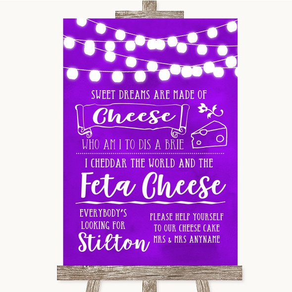 Purple Watercolour Lights Cheesecake Cheese Song Personalised Wedding Sign