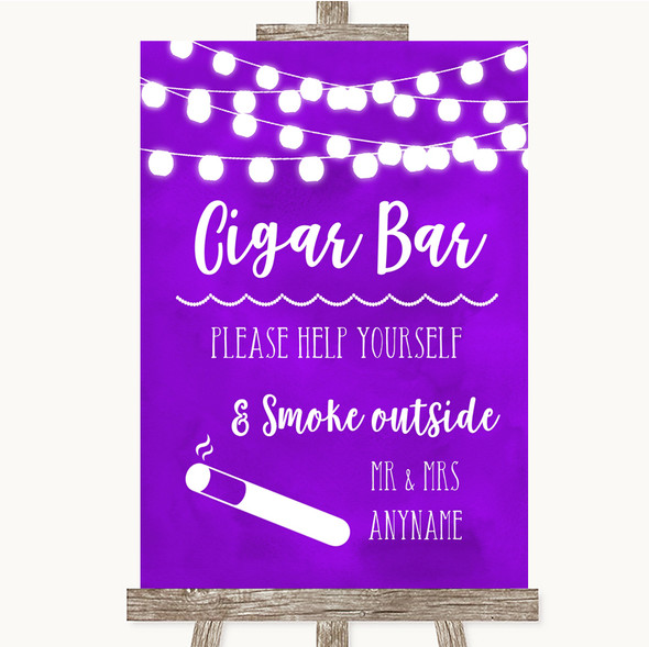 Purple Watercolour Lights Cigar Bar Personalised Wedding Sign