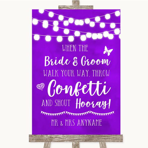 Purple Watercolour Lights Confetti Personalised Wedding Sign