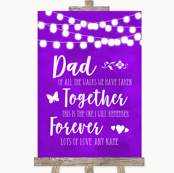 Purple Watercolour Lights Dad Walk Down The Aisle Personalised Wedding Sign