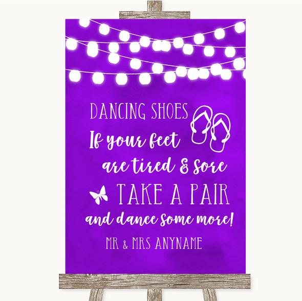 Purple Watercolour Lights Dancing Shoes Flip Flops Personalised Wedding Sign