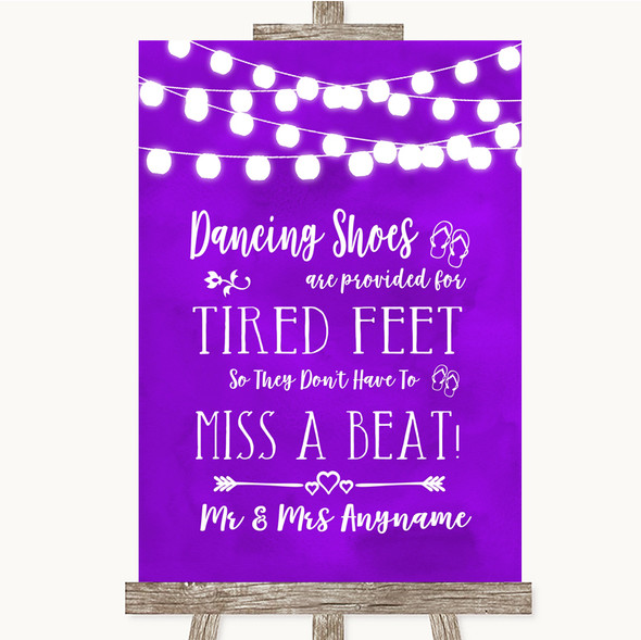 Purple Watercolour Lights Dancing Shoes Flip-Flop Tired Feet Wedding Sign