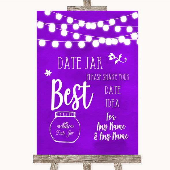 Purple Watercolour Lights Date Jar Guestbook Personalised Wedding Sign