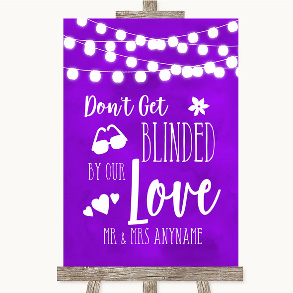 Purple Watercolour Lights Don't Be Blinded Sunglasses Personalised Wedding Sign