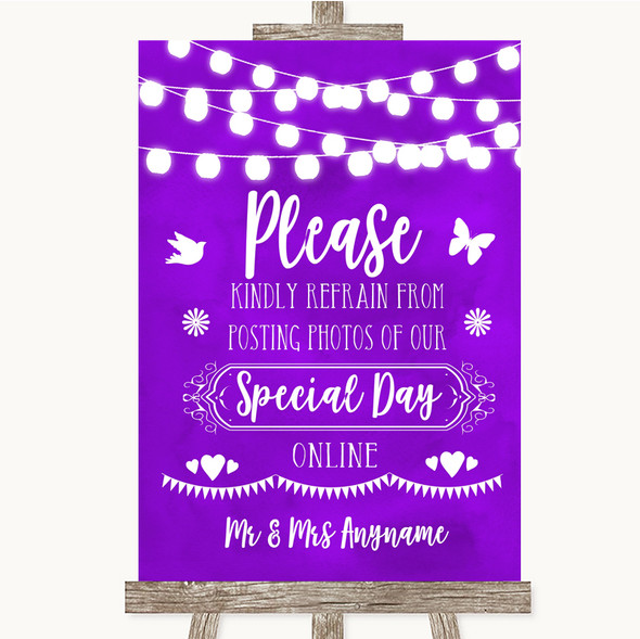 Purple Watercolour Lights Don't Post Photos Online Social Media Wedding Sign