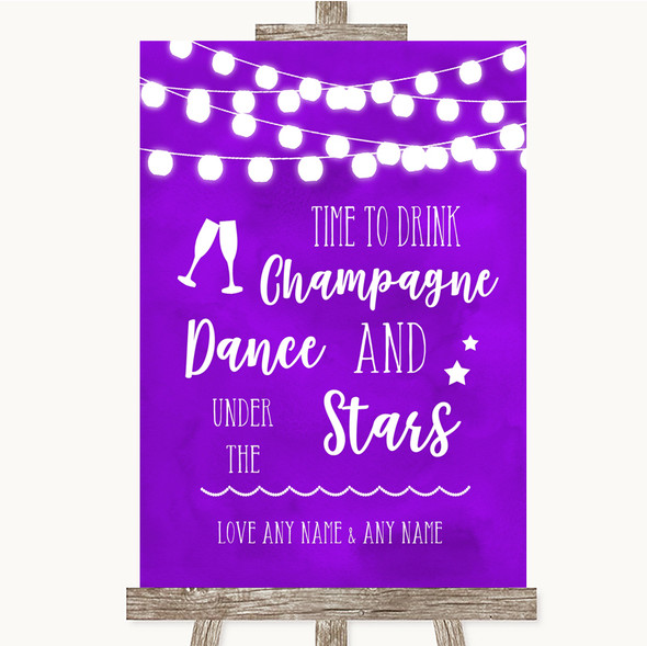 Purple Watercolour Lights Drink Champagne Dance Stars Personalised Wedding Sign