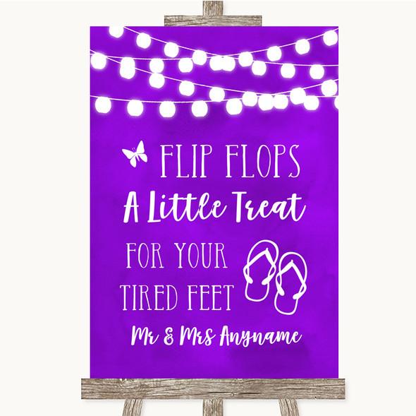 Purple Watercolour Lights Flip Flops Dancing Shoes Personalised Wedding Sign