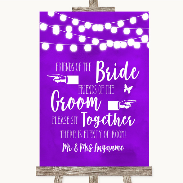 Purple Watercolour Lights Friends Of The Bride Groom Seating Wedding Sign