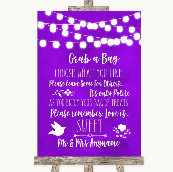 Purple Watercolour Lights Grab A Bag Candy Buffet Cart Sweets Wedding Sign