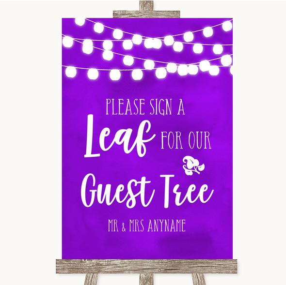 Purple Watercolour Lights Guest Tree Leaf Personalised Wedding Sign