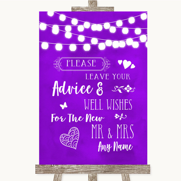 Purple Watercolour Lights Guestbook Advice & Wishes Mr & Mrs Wedding Sign