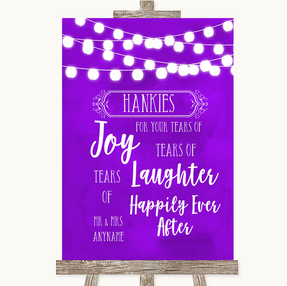 Purple Watercolour Lights Hankies And Tissues Personalised Wedding Sign