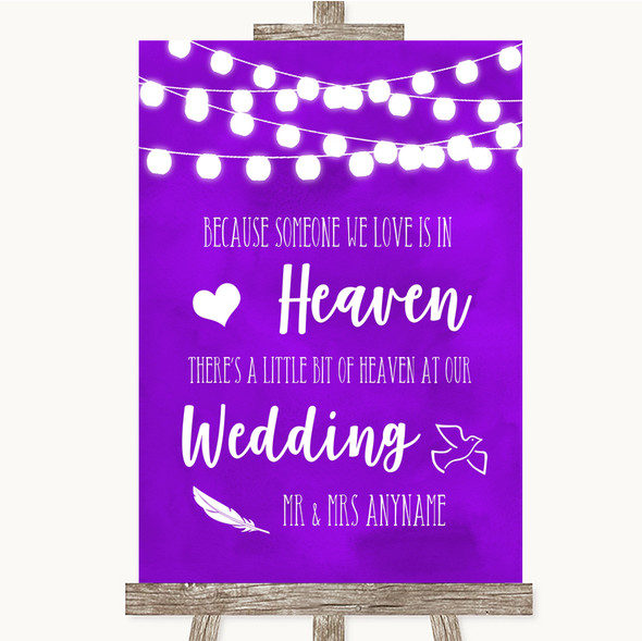 Purple Watercolour Lights Heaven Loved Ones Personalised Wedding Sign