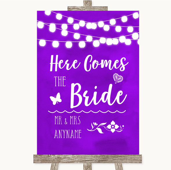 Purple Watercolour Lights Here Comes Bride Aisle Personalised Wedding Sign