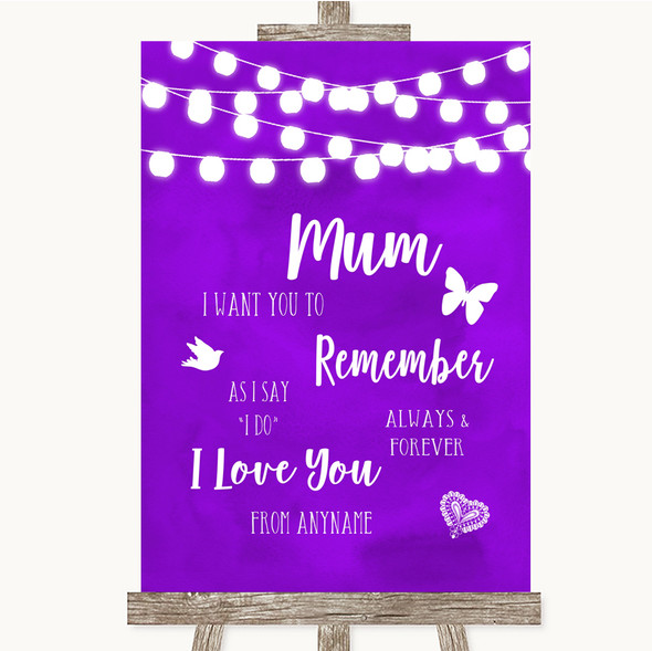 Purple Watercolour Lights I Love You Message For Mum Personalised Wedding Sign