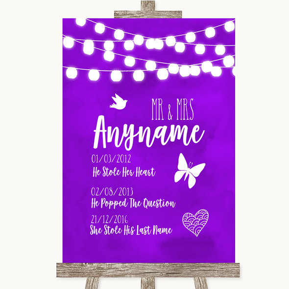 Purple Watercolour Lights Important Special Dates Personalised Wedding Sign