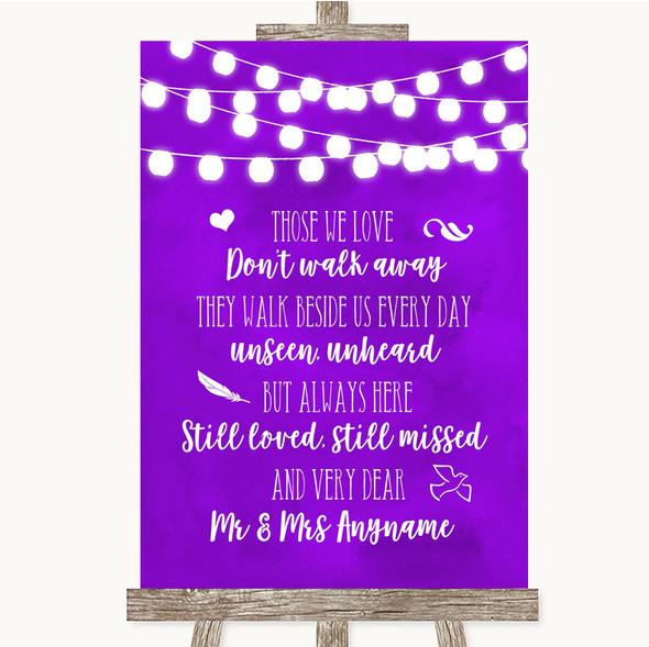 Purple Watercolour Lights In Loving Memory Personalised Wedding Sign