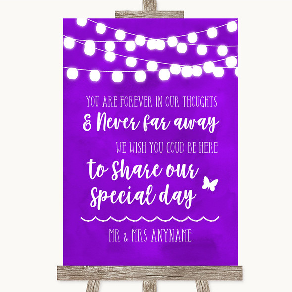 Purple Watercolour Lights In Our Thoughts Personalised Wedding Sign