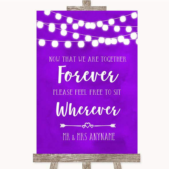 Purple Watercolour Lights Informal No Seating Plan Personalised Wedding Sign