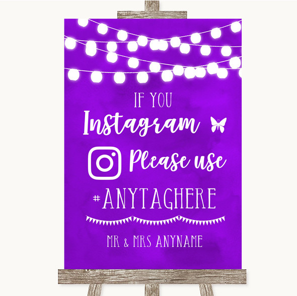 Purple Watercolour Lights Instagram Hashtag Personalised Wedding Sign