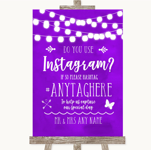 Purple Watercolour Lights Instagram Photo Sharing Personalised Wedding Sign