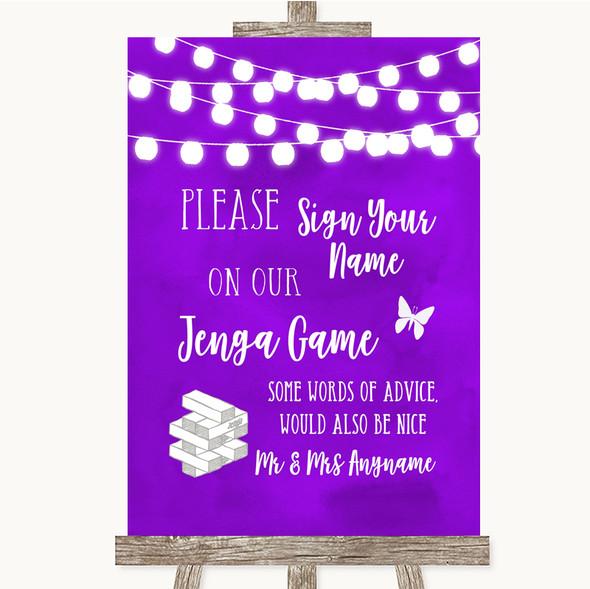 Purple Watercolour Lights Jenga Guest Book Personalised Wedding Sign