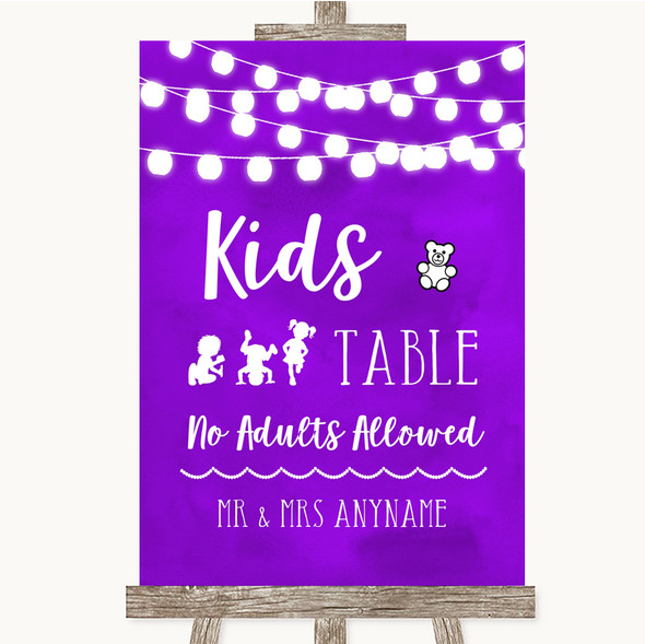 Purple Watercolour Lights Kids Table Personalised Wedding Sign