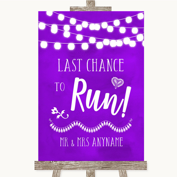 Purple Watercolour Lights Last Chance To Run Personalised Wedding Sign