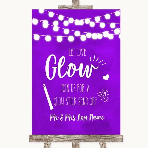 Purple Watercolour Lights Let Love Glow Glowstick Personalised Wedding Sign